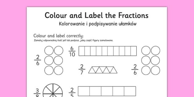 Colour and Label Fractions Worksheet Polish Translation - polish, fractions, fractions worksheet, colour and label fractions, colouring fractions worksheet, ks2 numeracy, ks2