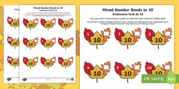 Autumn leaf mixed number bonds to 10 activity sheet English/Polish
