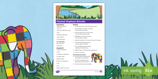 Painted Elephant Biscuits Recipe Sheet to Support Teaching on Elmer - storybooks, cook