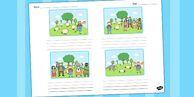 The Boy Who Cried Wolf Storyboard Template - storyboard, wolf
