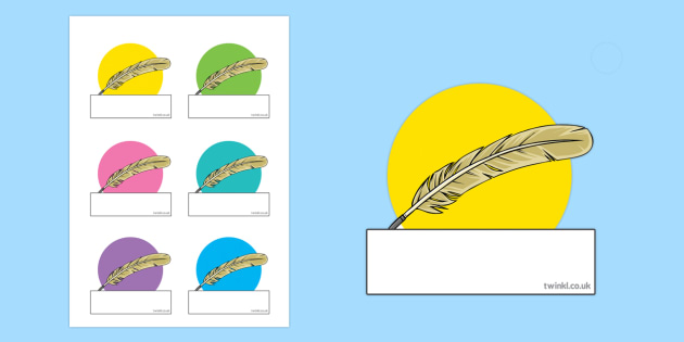 Editable Self-Registration Labels Feather Quills - editable, edit, self-registration, labels, display, feather quill, writing, write