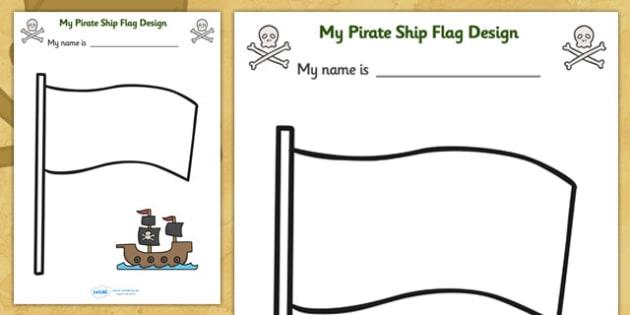 Design Your Own Ship Flag Worksheet -  worksheets, worksheet, flag design worksheets, flags, design worksheets, flag template, pirates, pirate worksheet
