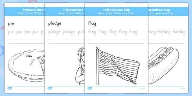 4th of July Read, Write, Trace and Color - usa, america, 4th of july, independence day, read, write, trace, color