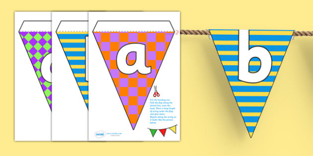 Pretty Pattern Themed Alphabet Bunting - pretty pattern, alphabet bunting, patterned alphabet bunting, A-Z bunting, A-Z patterned bunting, alphabet buntin