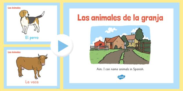 PowerPoint de vocabulario - animales de la granja - animales, vaca, cerdo, oveja, pato, caballo, cabra, burro, oca, gallina, cabra, juego, vocabulario