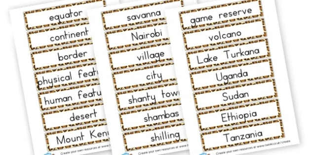 Kenya Word Cards - Kenya Primary Resources, Kenya, Nairobi, Africa, South Africa