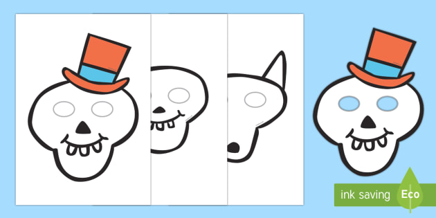 Story Role Play Masks to Support Teaching on Funnybones - Funny Bones, Janet and Alan Ahlberg, story, story book, story book resources, story sequencing, story resources, skeleton, our body, all about me, role play mask, role play