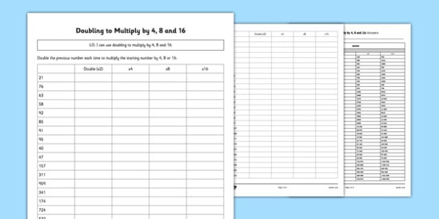 Doubling to Multiply by 4, 8 and 16 Activity Sheet Pack - Maths, doubling, multiply by 4, multiply by four, worksheet