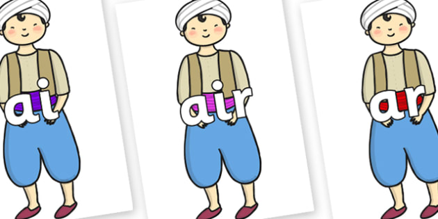 Phase 3 Phonemes on Aladdin - Phonemes, phoneme, Phase 3, Phase three, Foundation, Literacy, Letters and Sounds, DfES, display