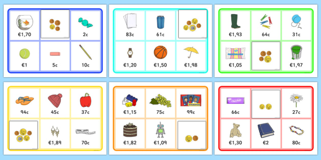 Toy Shop Bingo Euro and Cents - toy shop, bingo, game, activity, euro, cents, euros, currency, buying, toys, buy, car, banana, flip flops, shop