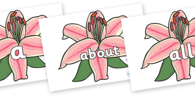 100 High Frequency Words on Lilies - High frequency words, hfw, DfES Letters and Sounds, Letters and Sounds, display words