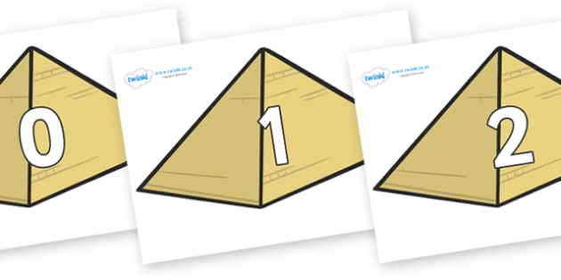Numbers 0-100 on Pyramids - 0-100, foundation stage numeracy, Number recognition, Number flashcards, counting, number frieze, Display numbers, number posters