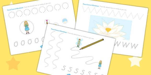 Thumbelina Pencil Control Sheets - fine motor skills, stories