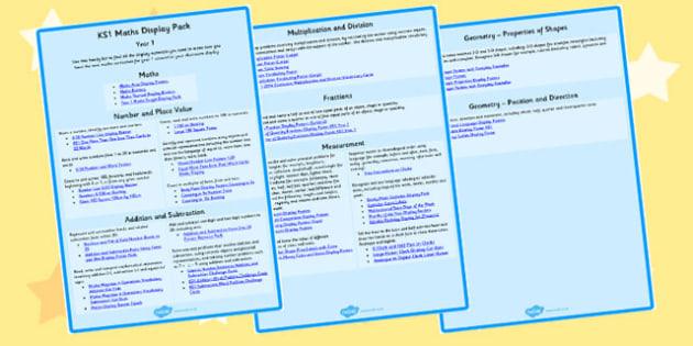KS1 Maths Display Pack Overview Year 1 - ks1, maths, display pack, overview
