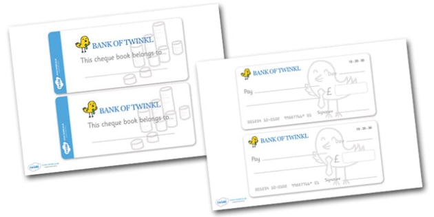 Role Play Cheque Books - Cheque Book, Role Play, Money, Shop, Till, Purchase, topic, activity