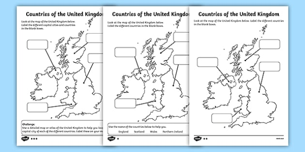 Differentiated Countries of the United Kingdom Labelling Activity Sheet Pack, worksheet