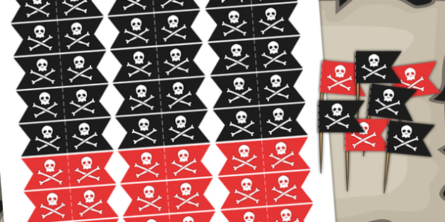 Pirate Themed Birthday Party Toothpick Flags - birthdays, parties