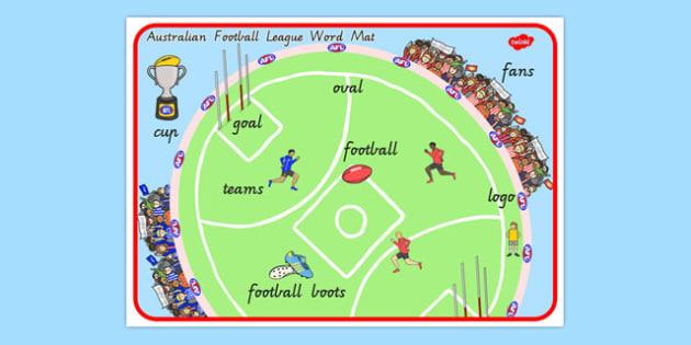 Australian Football League Scene Word Mat - AFL, sport, football
