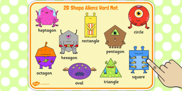 2D Shape Aliens Word Mat - 2d shape, aliens, word mat, word, mat