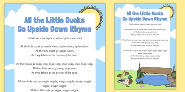 All the Little Ducks Go Upside Down Rhyme - spring, ducks rhyme, all the little ducks go upside down