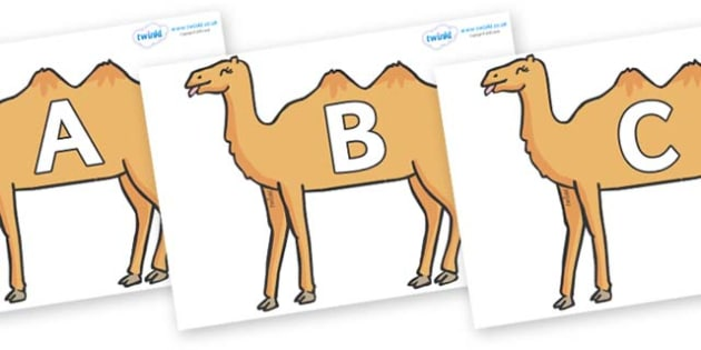 A-Z Alphabet on Camels - A-Z, A4, display, Alphabet frieze, Display letters, Letter posters, A-Z letters, Alphabet flashcards