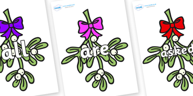 Tricky Words on Mistletoe (Bells) - Tricky words, DfES Letters and Sounds, Letters and sounds, display, words