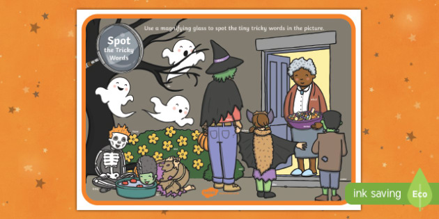 Halloween Themed Phase 4 Tricky Word Magnifying Glass Activity