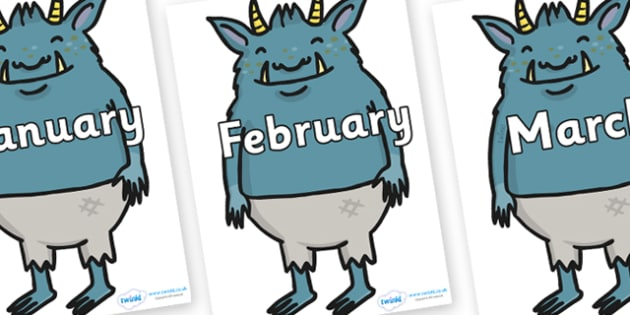 Months of the Year on Trolls  - Months of the Year, Months poster, Months display, display, poster, frieze, Months, month, January, February, March, April, May, June, July, August, September
