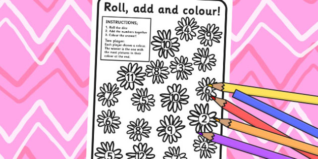 Flowers Roll and Colour Dice Addition Activity - flower, addition