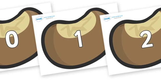 Numbers 0-31 on Conkers - 0-31, foundation stage numeracy, Number recognition, Number flashcards, counting, number frieze, Display numbers, number posters