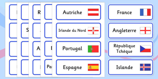 Euro 2016 Countries French Word Cards - French