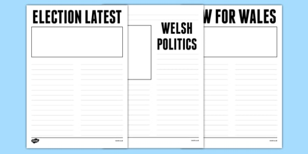 Election Report Newspaper Template Wales - welsh, cymraeg, Welsh Assembly National Election 2016, Newspaper Report, Writing.