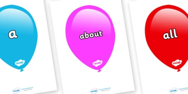 100 High Frequency Words on Balloons (Multicolour) - High frequency words, hfw, DfES Letters and Sounds, Letters and Sounds, display words