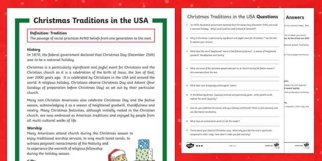 Christmas Traditions in the USA Differentiated Reading Comprehension Activity - Christmas reading comprehension