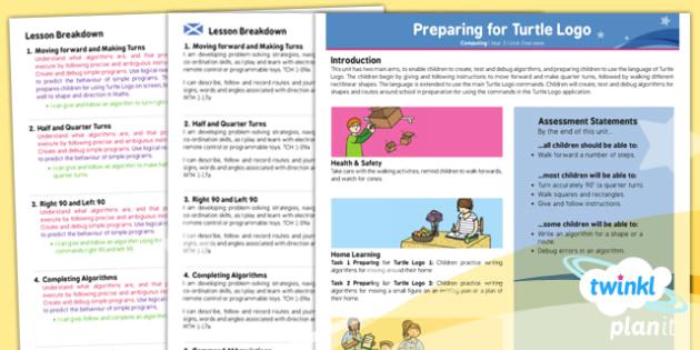 PlanIt - Computing Year 2 - Preparing for Turtle Logo Planning Overview CfE - planit, planning, overview, cfe