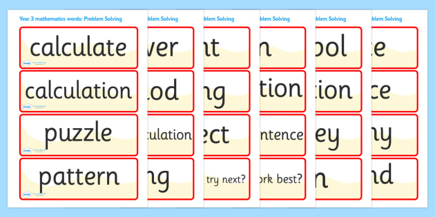 Problem Solving Vocabulary Cards (Year 3) - problem solving, vocabulary, vocab, solve, problems, solving problems, solution, find a solution, find solutions year 3, year three