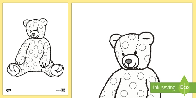 Spotty Teddy Colouring Page