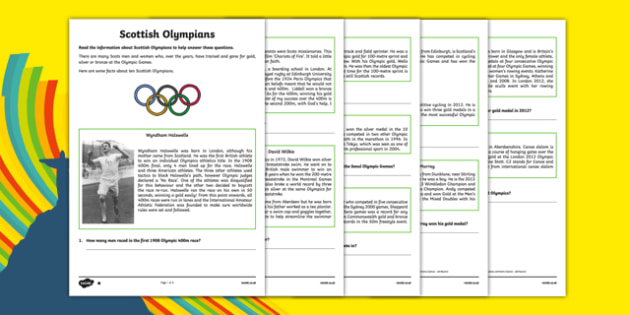 Scottish Olympians Differentiated Reading Comprehension Activity-Scottish