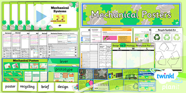 PlanIt - DT LKS2 - Mechanical Posters Unit Pack - planit, design and technology, Go Green, Eco, recycle, warrior, environment
