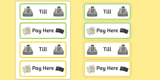 Role Play Till Sign - Till, Money, Payment, Role Play, topic, activity
