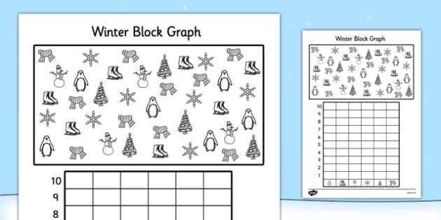 Winter Themed Colour Count and Graph Worksheet - winter themed, winter, themed worksheets, winter themed worksheets, graph worksheets