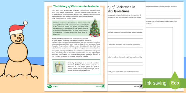 History of Christmas in Australia Differentiated Reading Comprehension Activity - Christmas Australia, history, summer, Christmas, outdoors, Australia