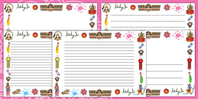 Diwali Page Borders (Landscape) - page border, border, frame, writing frame, diwali page borders, diwali, diwali writing frames, writing template, writing aid, writing, A4 page, page edge, writing activities, lined page, lined pages