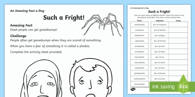 Such a Fright Activity Sheet - Amazing Fact Of The Day, activity sheets, powerpoint, starter, morning activity, December , fears, p