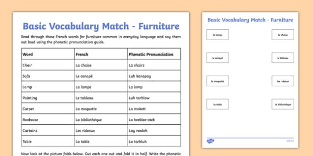 French Basic Vocabulary Match Furniture - french, basic vocabulary, match, furniture, vocabulary