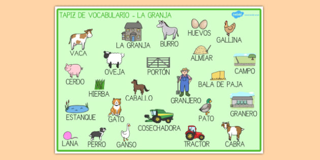 En la granja Tapices de vocabulario-Spanish