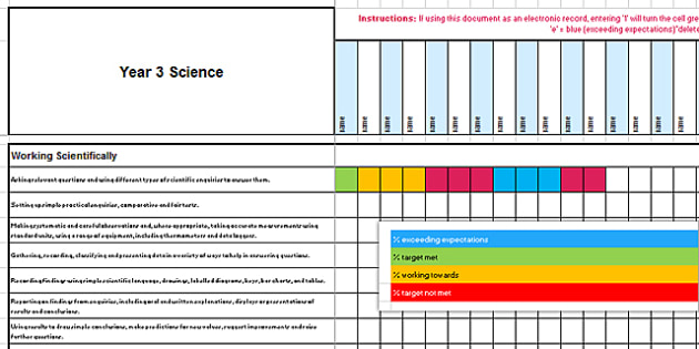 New Curriculum Year 3 Science Spreadsheet - new curriculum, year 3, science, spreadsheet
