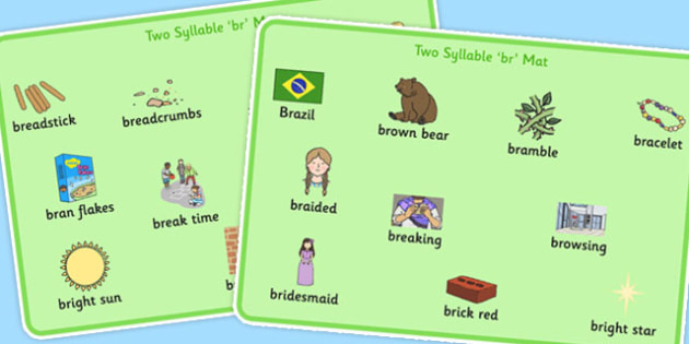 Two Syllable BR Word Mats - br, word mats, syllable, sound, sen