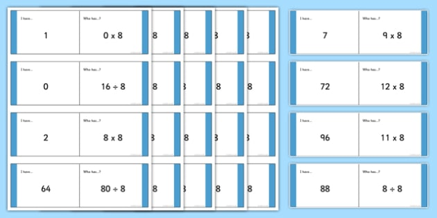 Loop Cards 8x Table - 8 x table, 8s, multiply by 8, divide by 8, related facts, loop cards, times table, times tables