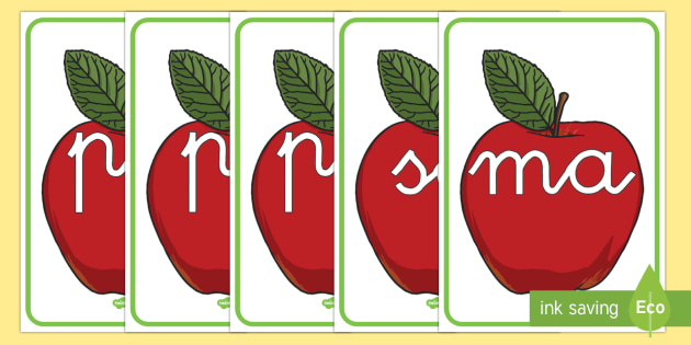 Manzanas rojas tarjetas de sílabas - lecto, leer, primeros sonidos, comida,Spanish